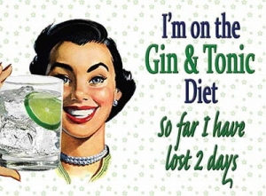 "Metalowa tabliczka retro 15 x 20 cm ""Gin & Tonic Diet"""