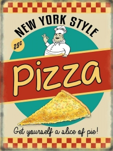 "Metalowa tabliczka retro 15 x 20 cm ""New York Pizza"""