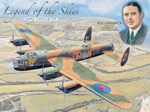 "Metalowa tabliczka retro 30 x 40 cm ""Legend of the Skies Lancaster Bomber Roy """