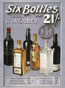 "Metalowa tabliczka retro 30 x 40 cm ""Six Bottles"""