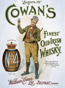 "Metalowa tabliczka retro 30 x 40 cm ""Cowan's Finest Old Irish Whisky"""