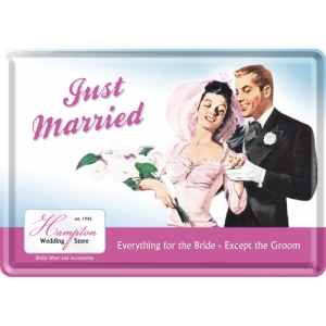 "Metalowa pocztówka retro ""Just Married"""