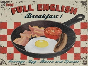 "Metalowa tabliczka retro 15 x 20 cm ""Full English Breakfast"""