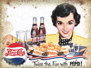 "Metalowa tabliczka retro 15 x 20 cm ""Pepsi - Twice the fun"""
