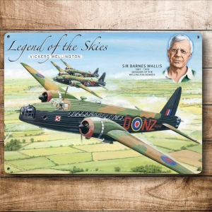 "Metalowa tabliczka retro 30 x 40 cm ""Legend of the skies - Vickers Wellington"""