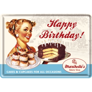 "Metalowa pocztówka retro ""Happy Birthday Cake"""