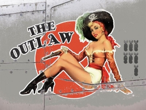 "Metalowa tabliczka retro 15 x 20 cm ""The Outlaw - pin up girl"""
